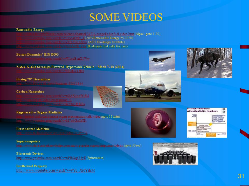 31 SOME VIDEOS Renewable Energy http://videos.howstuffworks.com/science-channel/34234-ecopolis-biofuel-video.htmhttp://videos.howstuffworks.com/scienc