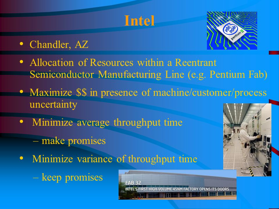 Intel Chandler, AZ Allocation of Resources within a Reentrant Semiconductor Manufacturing Line (e.g.