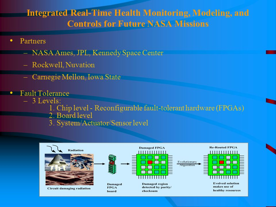 Integrated Real-Time Health Monitoring, Modeling, and Controls for Future NASA Missions Partners –NASA Ames, JPL, Kennedy Space Center –Rockwell, Nuvation –Carnegie Mellon, Iowa State Fault Tolerance –3 Levels: 1.