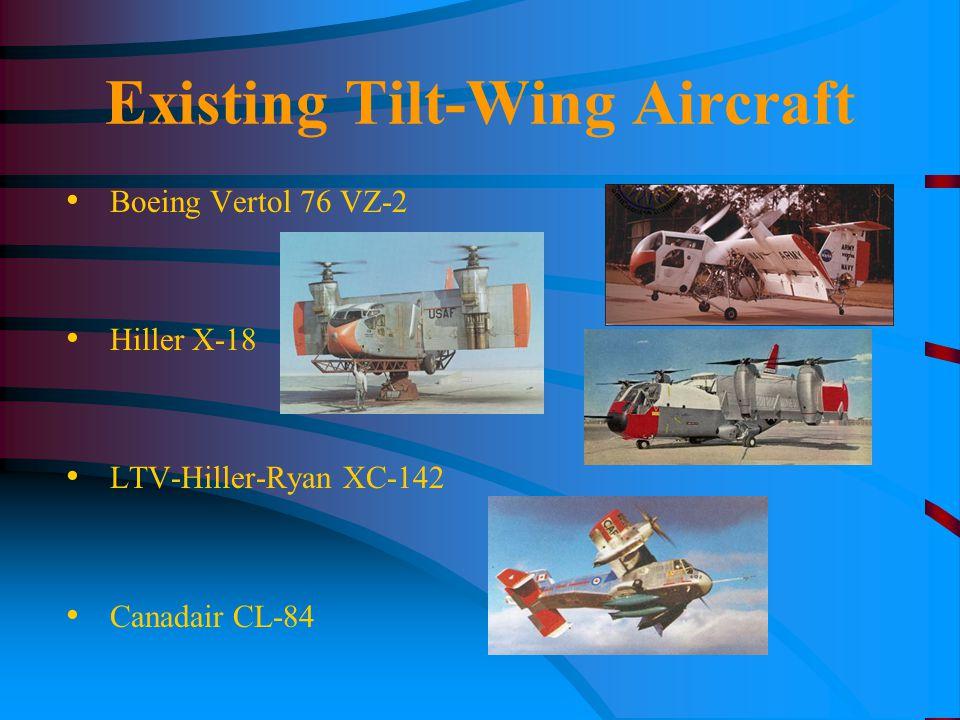 Existing Tilt-Wing Aircraft Boeing Vertol 76 VZ-2 Hiller X-18 LTV-Hiller-Ryan XC-142 Canadair CL-84