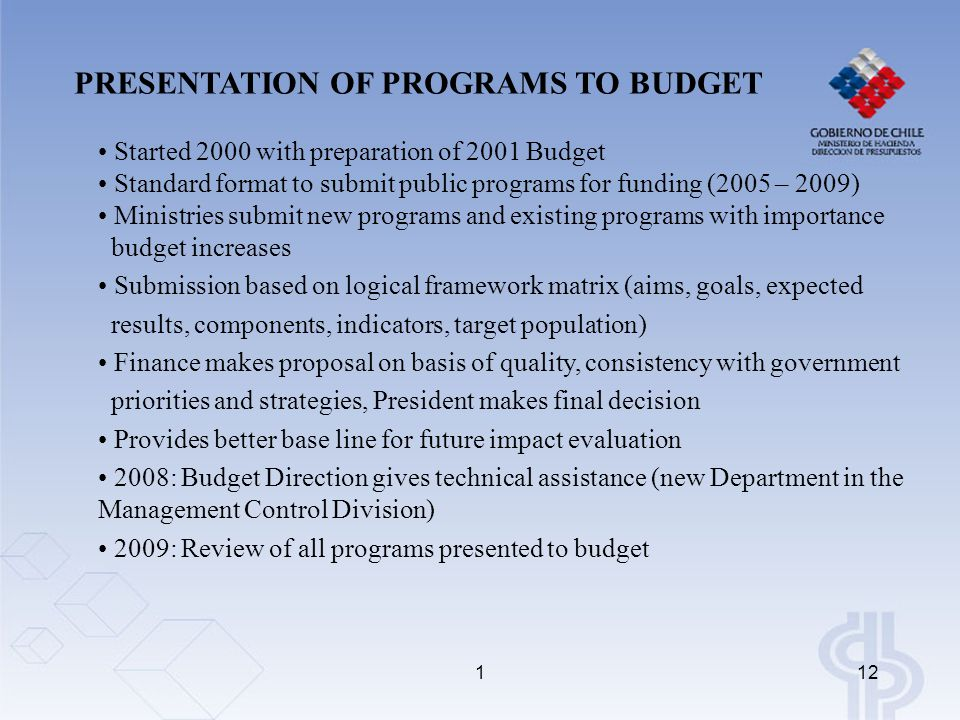 112 PRESENTATION OF PROGRAMS TO BUDGET Started 2000 with preparation of 2001 Budget Standard format to submit public programs for funding (2005 – 2009