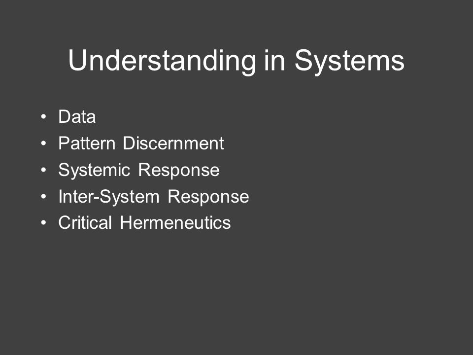 Understanding in Systems Data Pattern Discernment Systemic Response Inter-System Response Critical Hermeneutics