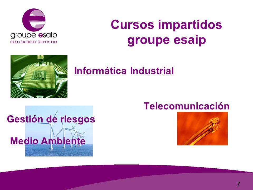 7 Informática Industrial Medio Ambiente Gestión de riesgos Telecomunicación Cursos impartidos groupe esaip
