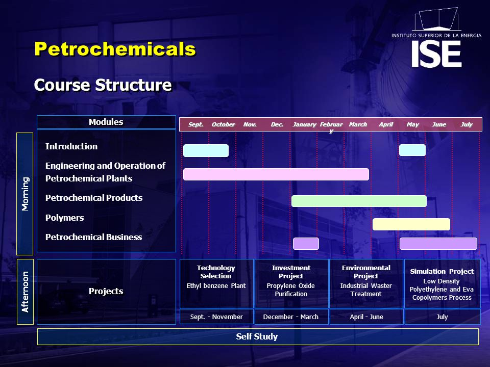 Introduction Engineering and Operation of Petrochemical Plants Petrochemical Products Polymers Petrochemical Business Modules Projects Self Study Afternoon Morning Petrochemicals Course Structure Dec.