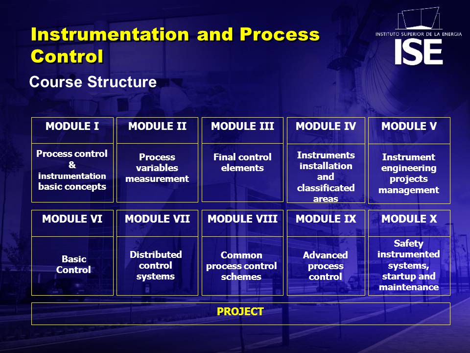 Advanced process control Process variables measurement MODULE II Final control elements MODULE III Process control & i nstrumentation basic concepts MODULE I Course Structure Instrumentation and Process Control PROJECT MODULE IVMODULE IXMODULE VIMODULE VIIMODULE VIIIMODULE X Safety instrumented systems, startup and maintenance MODULE V Instrument engineering projects management Instruments installation and classificated areas Distributed control systems Common process control schemes Basic Control