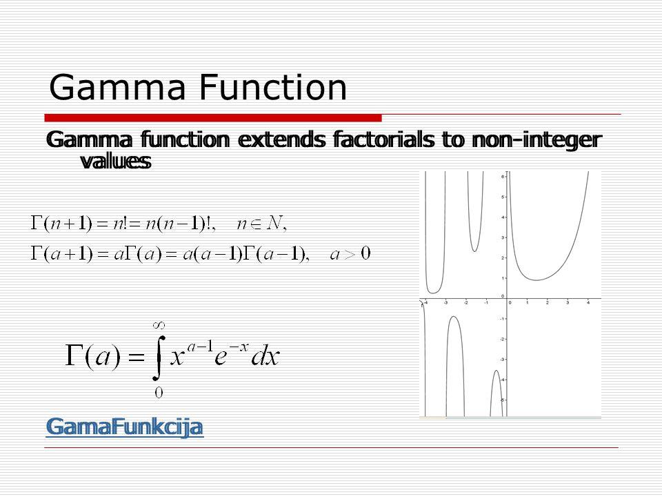 Gamma Function Gamma function extends factorials to non-integer values GamaFunkcija Gamma function extends factorials to non-integer values GamaFunkci
