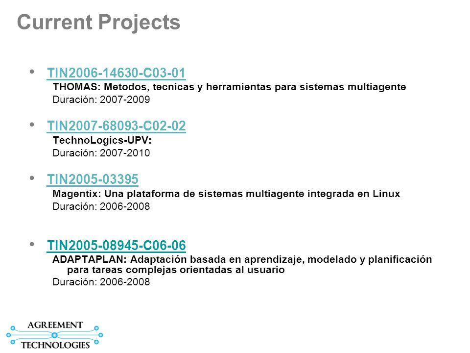 Current Projects TIN2006-14630-C03-01 THOMAS: Metodos, tecnicas y herramientas para sistemas multiagente Duración: 2007-2009 TIN2007-68093-C02-02 TechnoLogics-UPV: Duración: 2007-2010 TIN2005-03395 Magentix: Una plataforma de sistemas multiagente integrada en Linux Duración: 2006-2008 TIN2005-08945-C06-06 ADAPTAPLAN: Adaptación basada en aprendizaje, modelado y planificación para tareas complejas orientadas al usuario Duración: 2006-2008