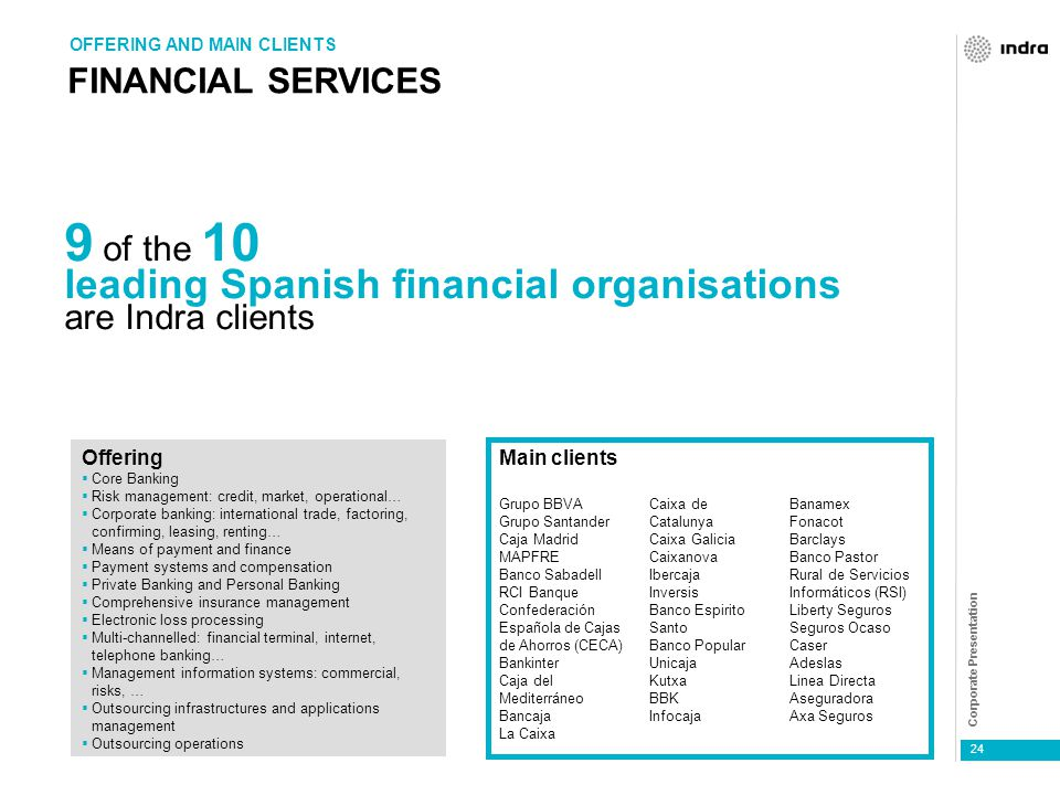 Corporate Presentation 24 FINANCIAL SERVICES OFFERING AND MAIN CLIENTS 9 of the 10 leading Spanish financial organisations are Indra clients Grupo BBVA Grupo Santander Caja Madrid MAPFRE Banco Sabadell RCI Banque Confederación Española de Cajas de Ahorros (CECA) Bankinter Caja del Mediterráneo Bancaja La Caixa Caixa de Catalunya Caixa Galicia Caixanova Ibercaja Inversis Banco Espirito Santo Banco Popular Unicaja Kutxa BBK Infocaja Main clients Banamex Fonacot Barclays Banco Pastor Rural de Servicios Informáticos (RSI) Liberty Seguros Seguros Ocaso Caser Adeslas Linea Directa Aseguradora Axa Seguros  Core Banking  Risk management: credit, market, operational…  Corporate banking: international trade, factoring, confirming, leasing, renting…  Means of payment and finance  Payment systems and compensation  Private Banking and Personal Banking  Comprehensive insurance management  Electronic loss processing  Multi-channelled: financial terminal, internet, telephone banking…  Management information systems: commercial, risks, …  Outsourcing infrastructures and applications management  Outsourcing operations Offering