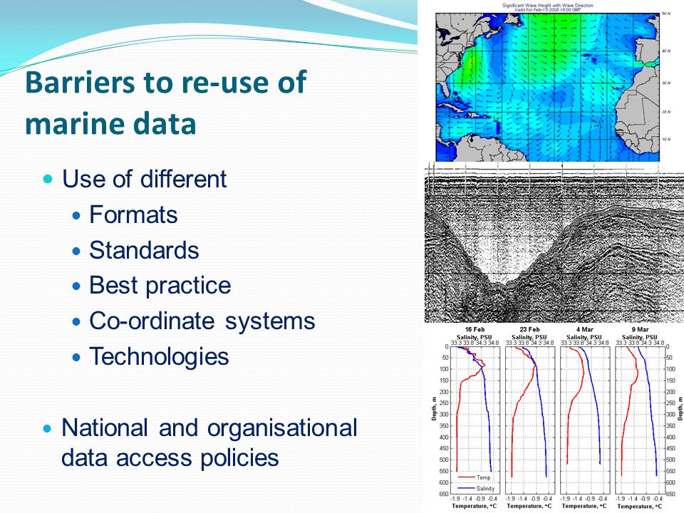 Barriers to re-use of marine data Use of different Formats Standards Best practice Co-ordinate systems Technologies National and organisational data a