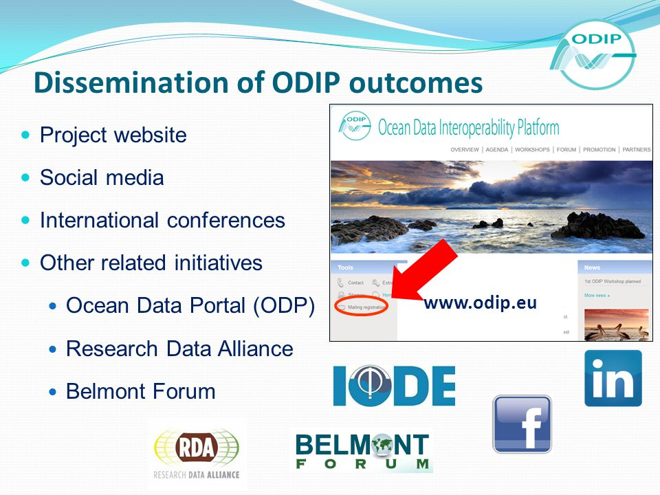 Dissemination of ODIP outcomes Project website Social media International conferences Other related initiatives Ocean Data Portal (ODP) Research Data