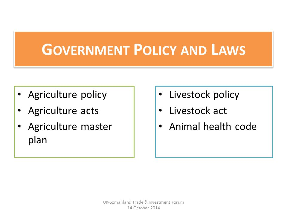 G OVERNMENT P OLICY AND L AWS Agriculture policy Agriculture acts Agriculture master plan Livestock policy Livestock act Animal health code UK-Somaliland Trade & Investment Forum 14 October 2014
