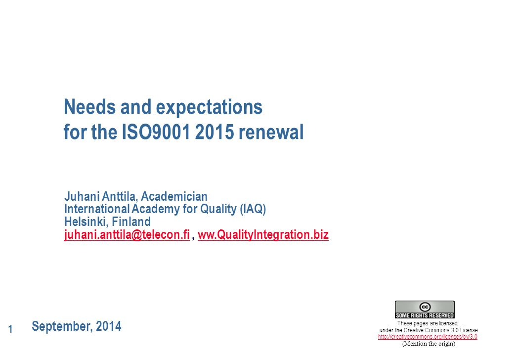 2 4315/14.9.2014/jan Technical committee ISO/TC 176 formed in 1979.