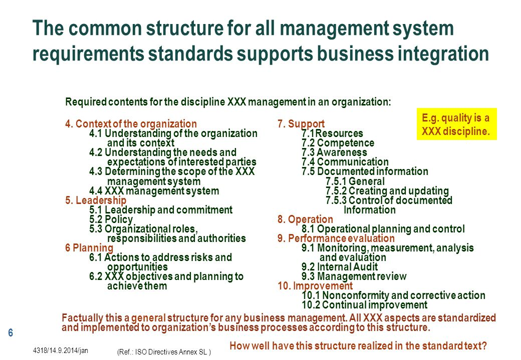 7 4319/14.9.2014/jan The new ISO 9001 standard makes risk-based thinking more explicit than the previous ones and this covers the whole standard including requirements for the establishment, implementation, maintenance and continual improvement of the quality management system.