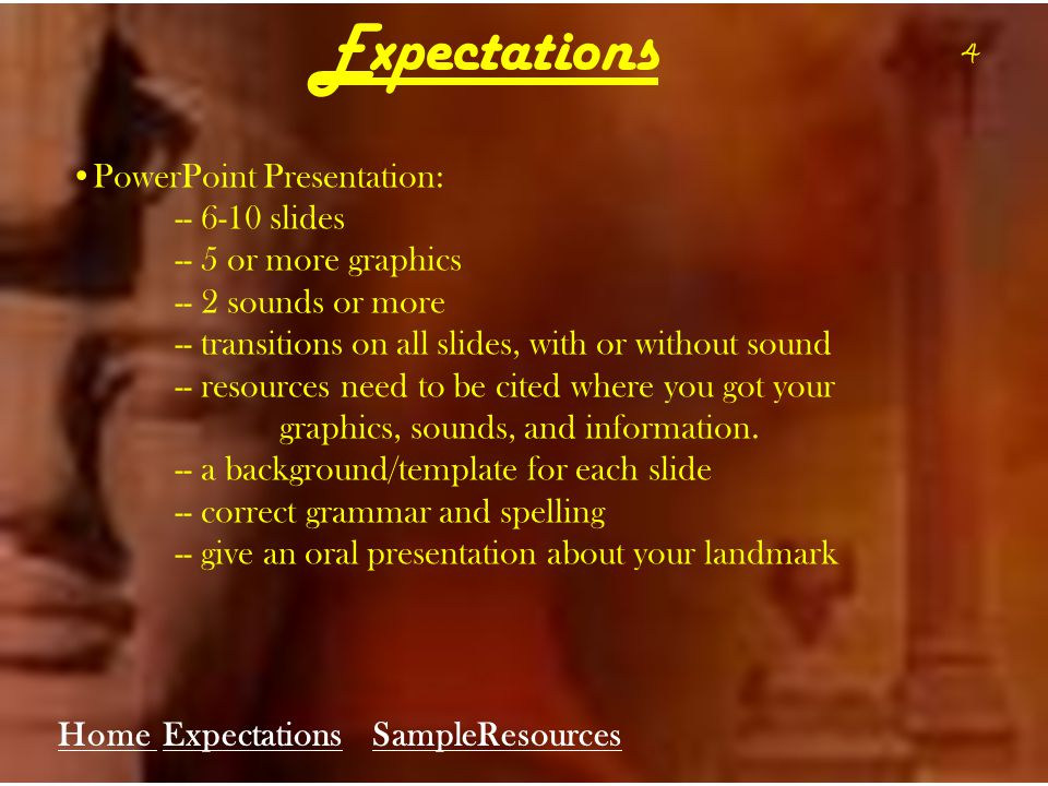 4 Expectations PowerPoint Presentation: -- 6-10 slides -- 5 or more graphics -- 2 sounds or more -- transitions on all slides, with or without sound -- resources need to be cited where you got your graphics, sounds, and information.