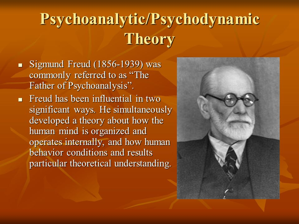 "Psychoanalytic/Psychodynamic Theory Sigmund Freud (1856-1939) was commonly referred to as ""The Father of Psychoanalysis"". Sigmund Freud (1856-1939) wa"