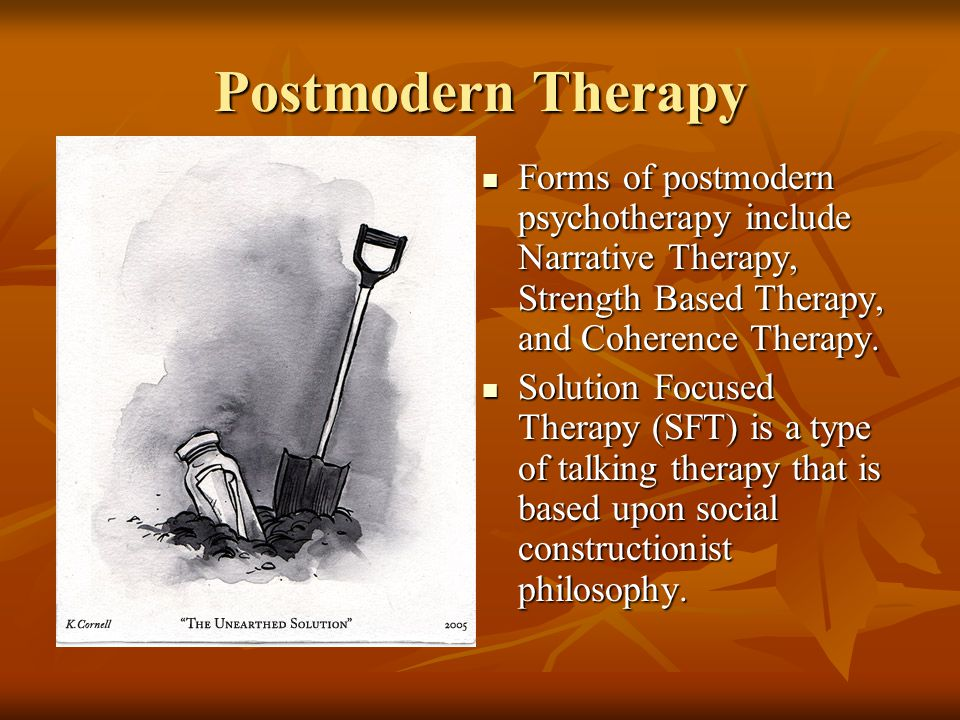 Postmodern Therapy Forms of postmodern psychotherapy include Narrative Therapy, Strength Based Therapy, and Coherence Therapy. Forms of postmodern psy
