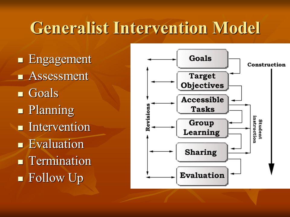 Generalist Intervention Model Engagement Engagement Assessment Assessment Goals Goals Planning Planning Intervention Intervention Evaluation Evaluation Termination Termination Follow Up Follow Up