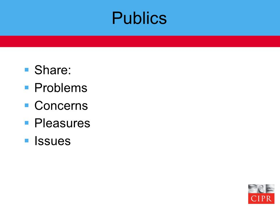 Publics  Share:  Problems  Concerns  Pleasures  Issues