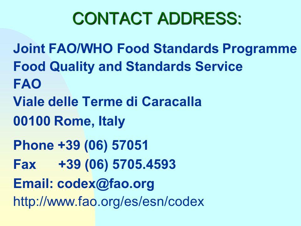 FUTURE WORK? n Establishing National Codex Committees n Involvement in Codex work - meetings, comments n Harmonization of standards with Codex n Coope