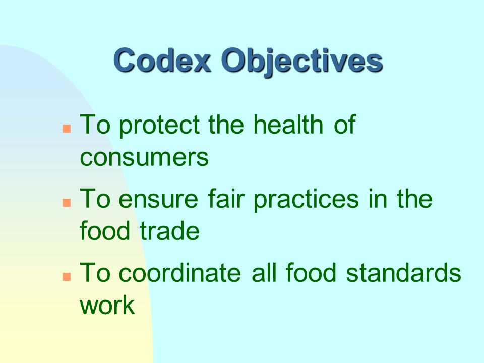 Codex Alimentarius Commission n Founded by FAO in 1961 n Responsible for the Joint FAO/WHO Food Standards Programme since 1962