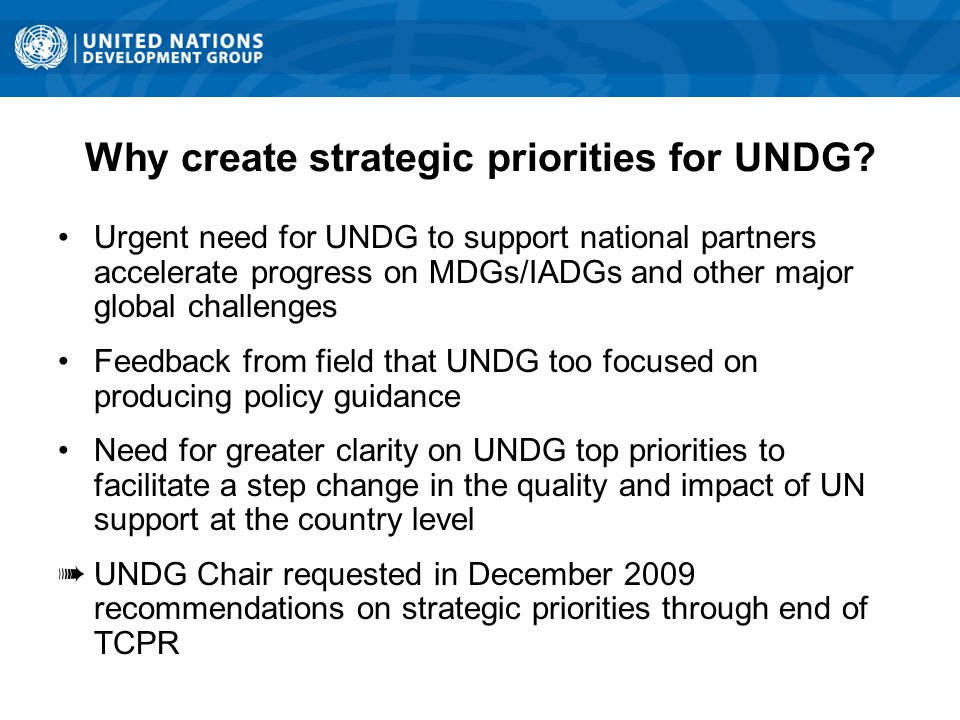 Why create strategic priorities for UNDG.