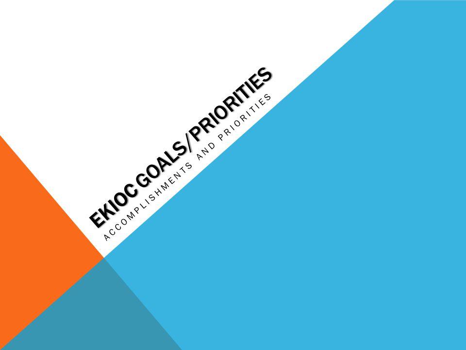 EKIOC GOALS/PRIORITIES ACCOMPLISHMENTS AND PRIORITIES