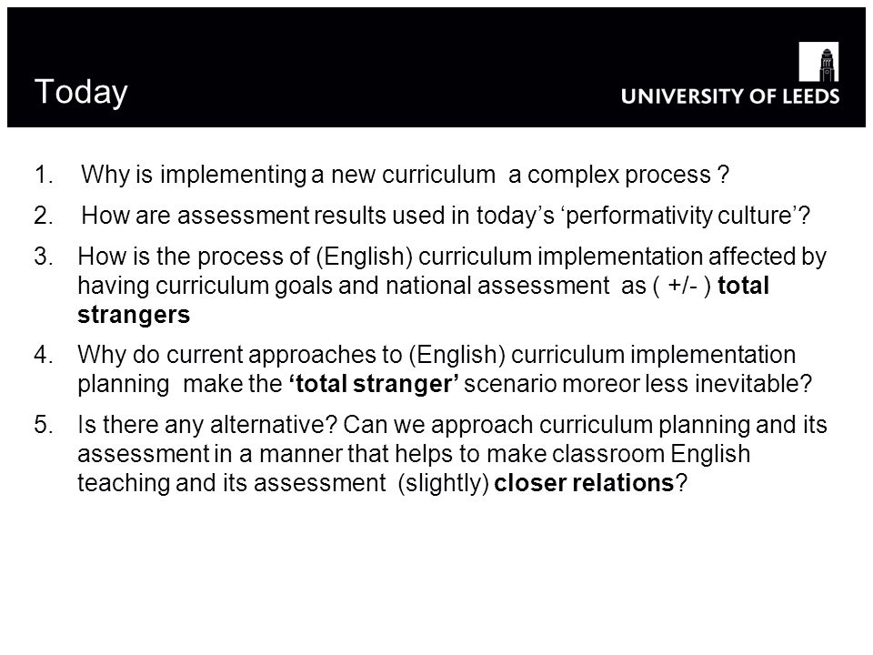 Today 1. Why is implementing a new curriculum a complex process ? 2. How are assessment results used in today's 'performativity culture'? 3.How is the