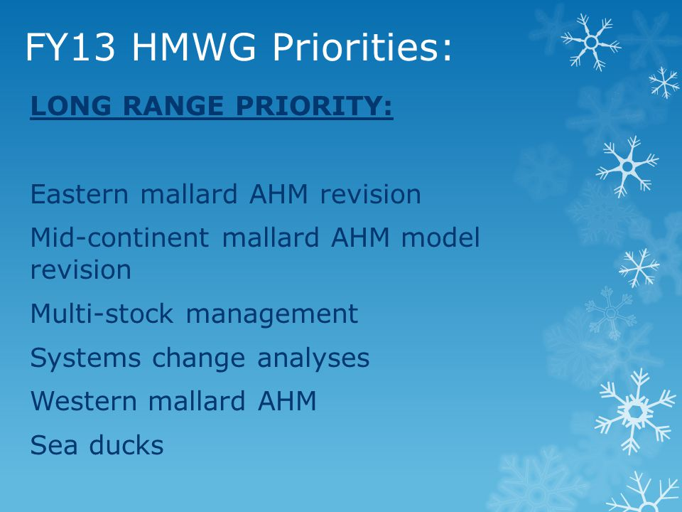 FY13 HMWG Priorities: LONG RANGE PRIORITY: Eastern mallard AHM revision Mid-continent mallard AHM model revision Multi-stock management Systems change analyses Western mallard AHM Sea ducks