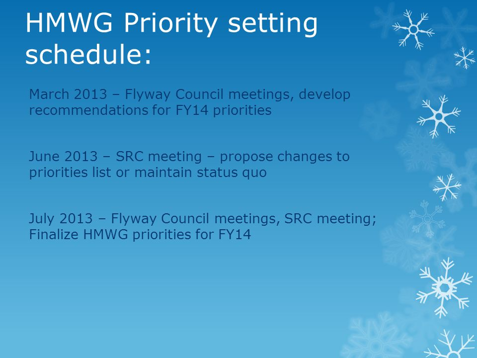 HMWG Priority setting schedule: March 2013 – Flyway Council meetings, develop recommendations for FY14 priorities June 2013 – SRC meeting – propose ch