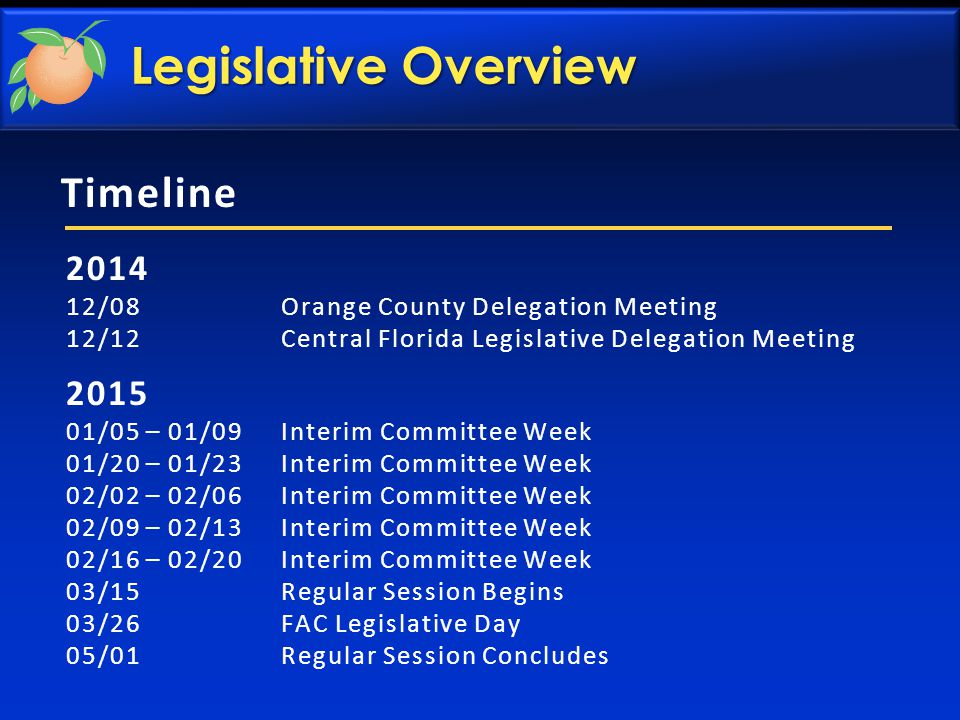 Timeline 2014 12/08 Orange County Delegation Meeting 12/12 Central Florida Legislative Delegation Meeting 2015 01/05 – 01/09 Interim Committee Week 01/20 – 01/23 Interim Committee Week 02/02 – 02/06 Interim Committee Week 02/09 – 02/13 Interim Committee Week 02/16 – 02/20 Interim Committee Week 03/15 Regular Session Begins 03/26 FAC Legislative Day 05/01 Regular Session Concludes Legislative Overview
