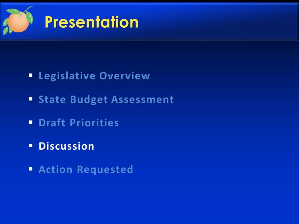 Presentation  Legislative Overview  State Budget Assessment  Draft Priorities  Discussion  Action Requested