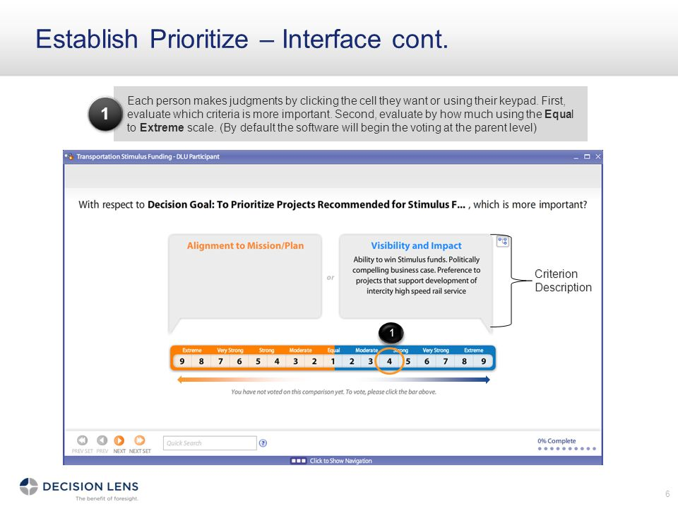Establish Prioritize – Interface cont.