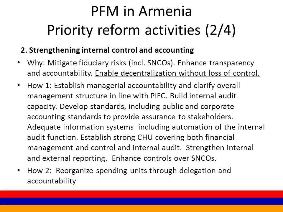 PFM in Armenia Priority reform activities (2/4) 2.