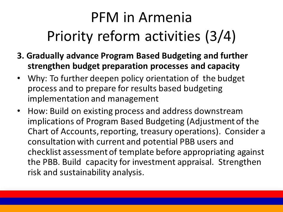 PFM in Armenia Priority reform activities (3/4) 3.