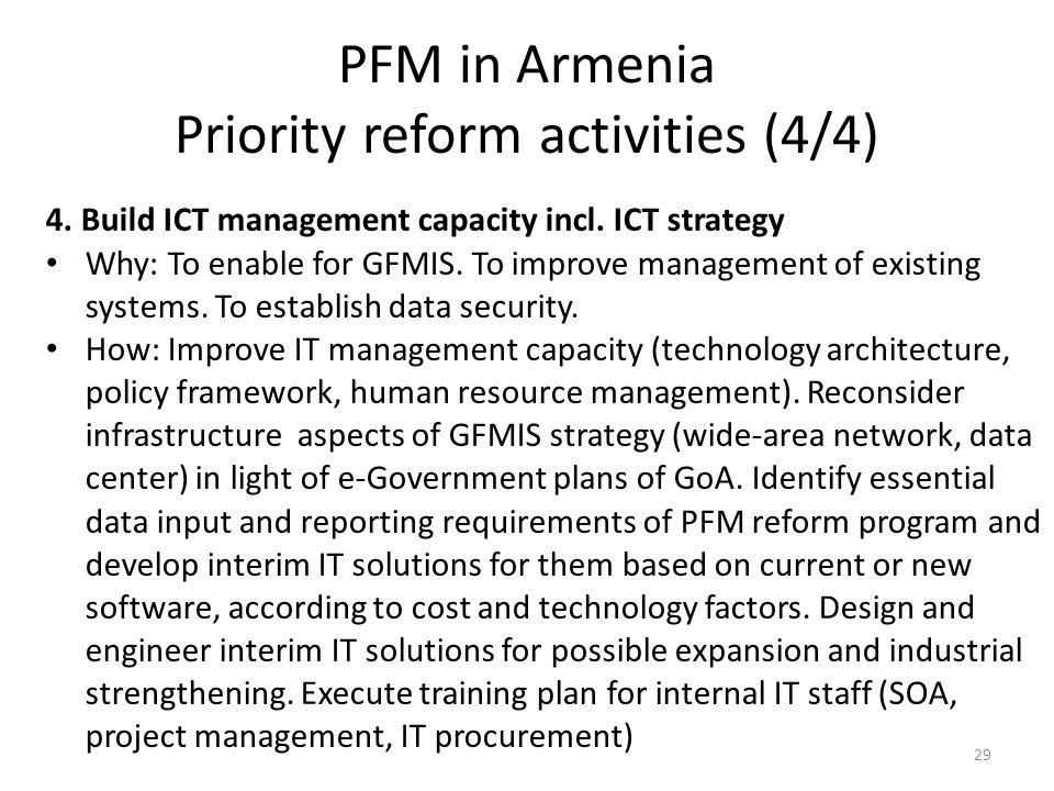 PFM in Armenia Priority reform activities (4/4) 4.