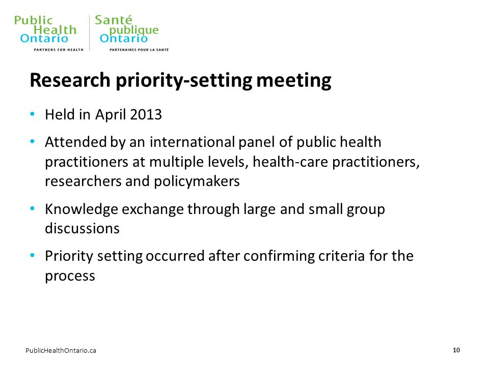 PublicHealthOntario.ca Research priority-setting meeting Held in April 2013 Attended by an international panel of public health practitioners at multi