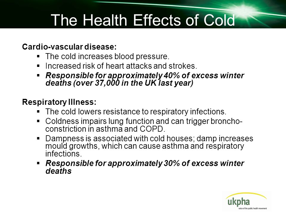 Mild Hypothermia A study showed incidence peaks of hypothermia in A&E patients over 65 from relatively deprived postcodes, coinciding with periods of cold weather Cold houses affect mobility and increase falls and non-intentional injuries Mental and social health Damp, cold housing is associated with a 4 fold increase in depression and anxiety Some people become socially isolated as they are reluctant to invite friends round to a cold house.
