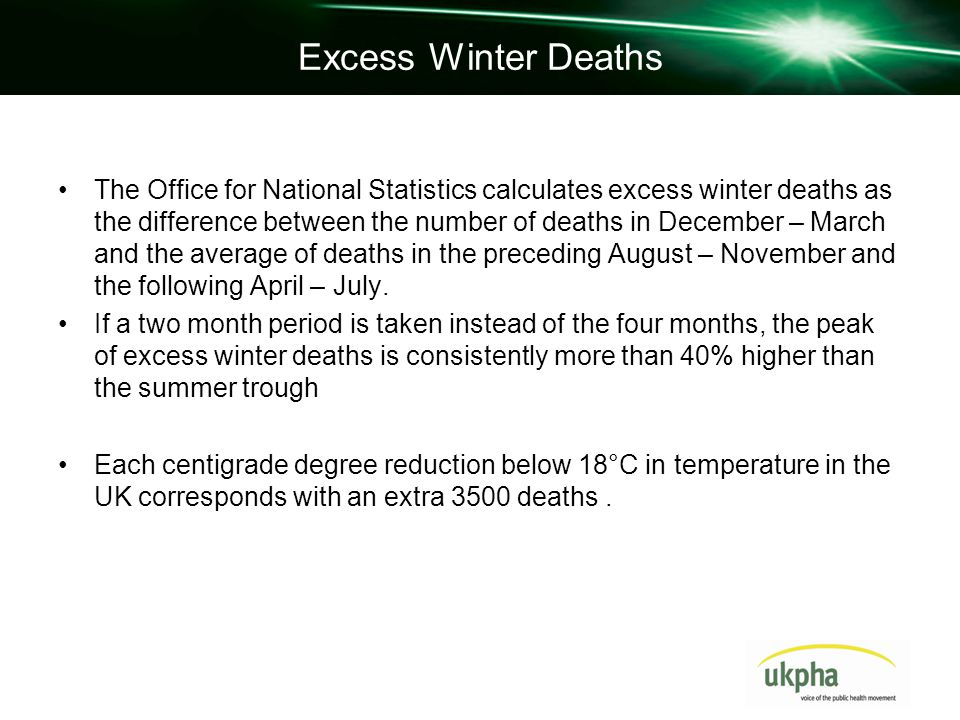 Excess Winter Deaths The Office for National Statistics calculates excess winter deaths as the difference between the number of deaths in December – March and the average of deaths in the preceding August – November and the following April – July.