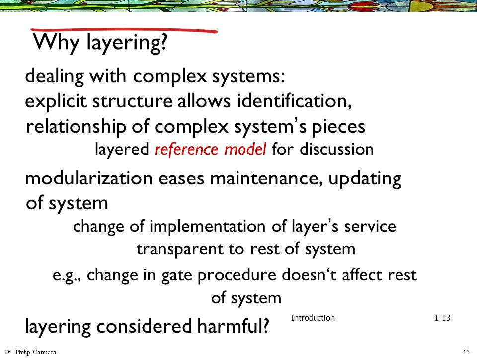 Dr. Philip Cannata 13 Introduction Why layering? dealing with complex systems: explicit structure allows identification, relationship of complex syste