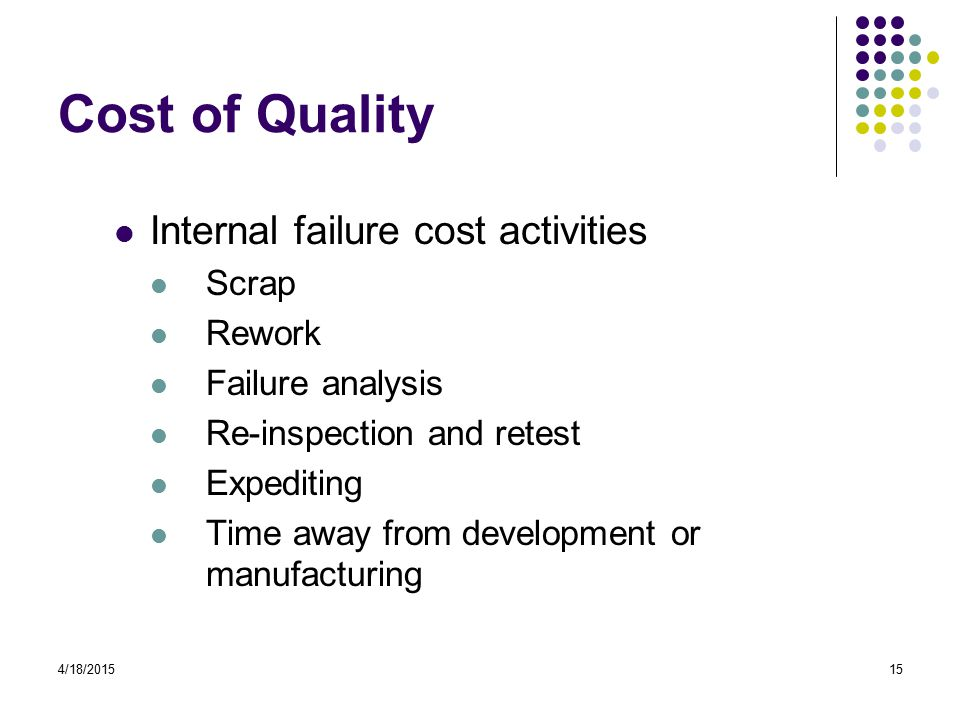 4/18/201515 Cost of Quality Internal failure cost activities Scrap Rework Failure analysis Re-inspection and retest Expediting Time away from development or manufacturing
