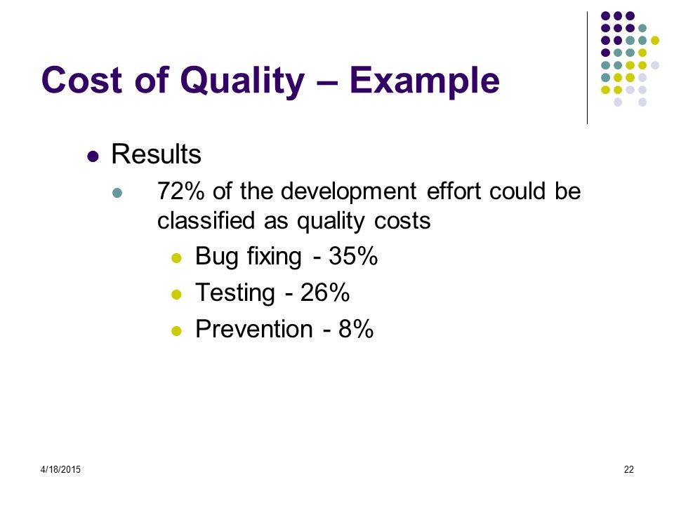 4/18/201522 Cost of Quality – Example Results 72% of the development effort could be classified as quality costs Bug fixing - 35% Testing - 26% Prevention - 8%