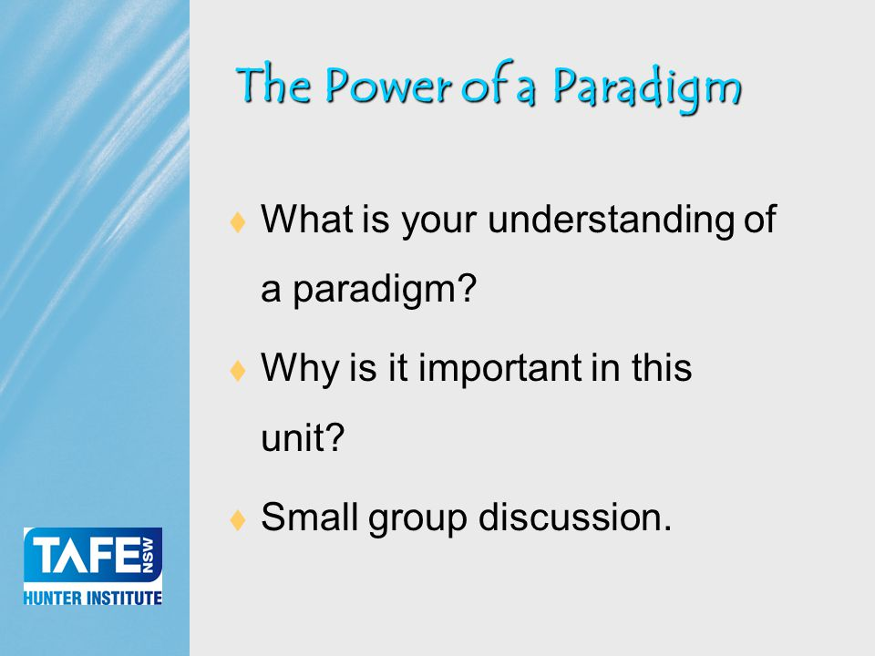 Faculty of Business  What is your understanding of a paradigm.