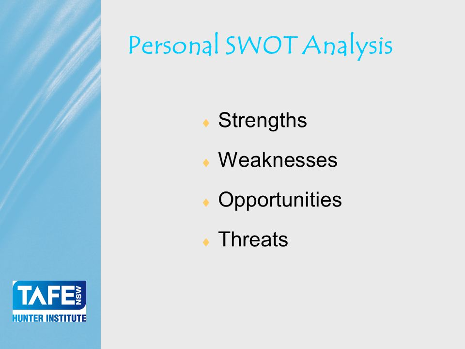 Faculty of Business Personal SWOT Analysis  Strengths  Weaknesses  Opportunities  Threats