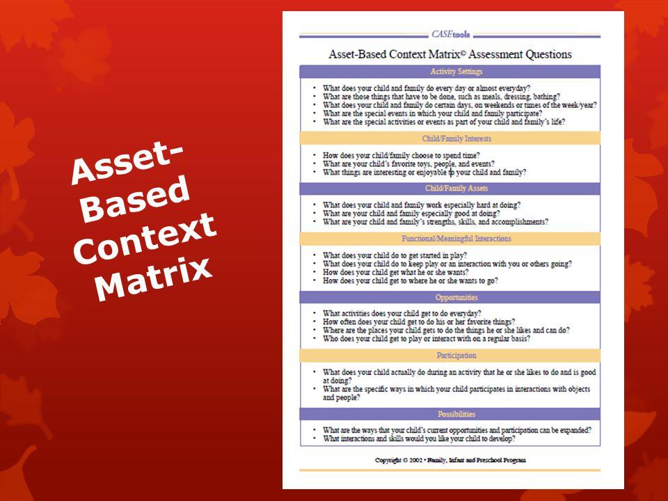 Asset- Based Context Matrix