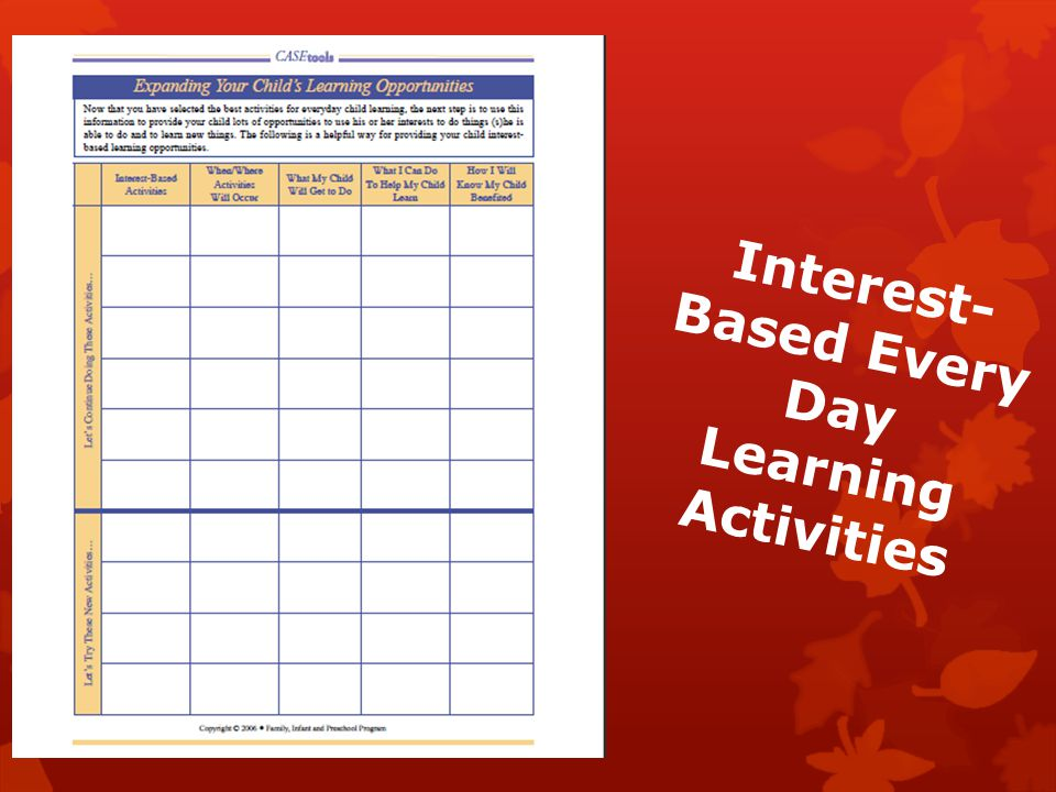 Interest- Based Every Day Learning Activities