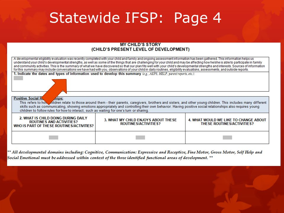 Statewide IFSP: Page 4