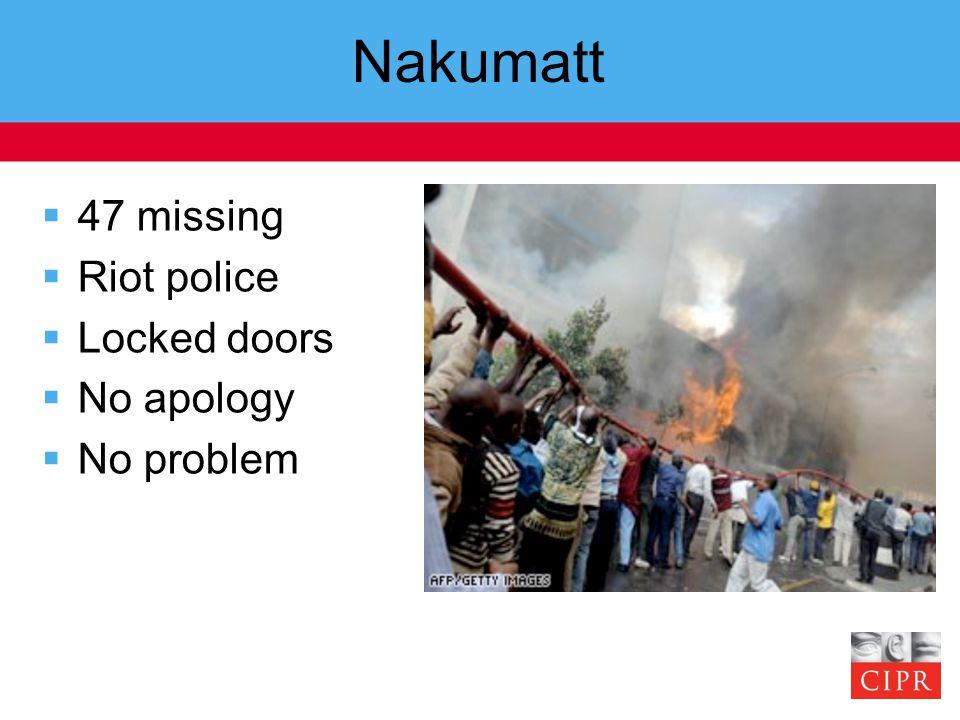 Nakumatt  47 missing  Riot police  Locked doors  No apology  No problem