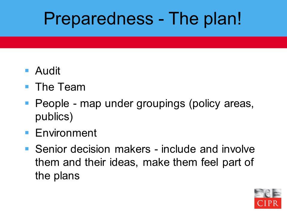 Preparedness - The plan.