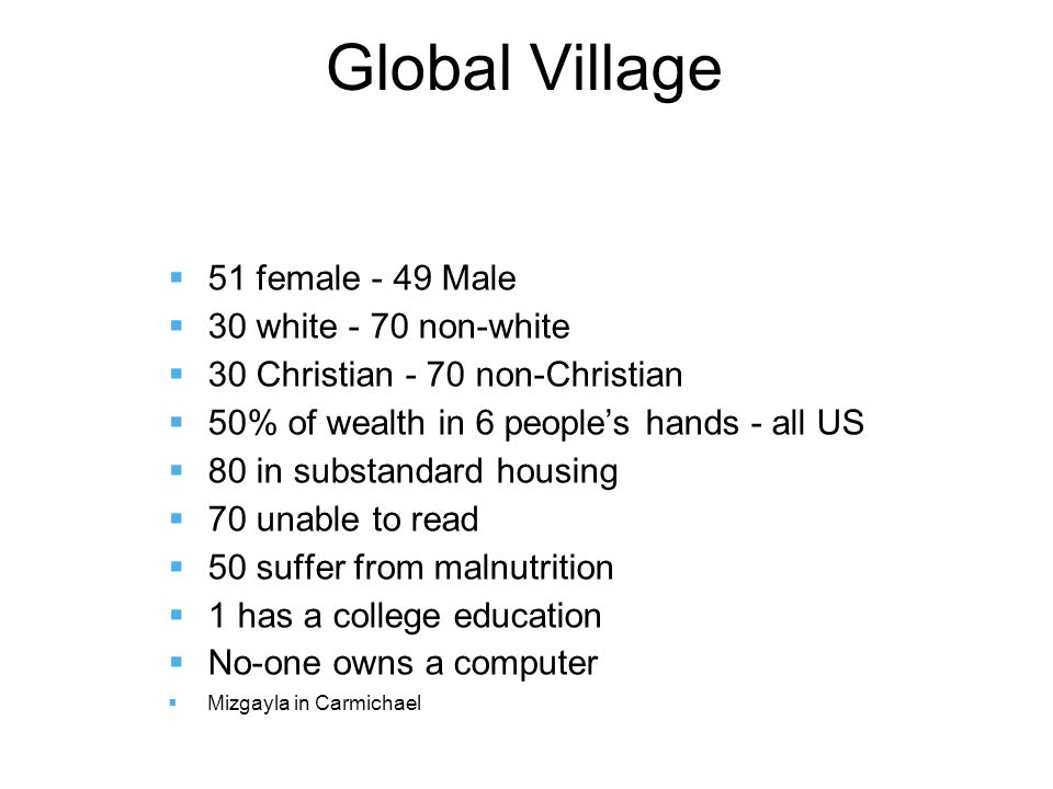 Global Village  51 female - 49 Male  30 white - 70 non-white  30 Christian - 70 non-Christian  50% of wealth in 6 people's hands - all US  80 in substandard housing  70 unable to read  50 suffer from malnutrition  1 has a college education  No-one owns a computer  Mizgayla in Carmichael