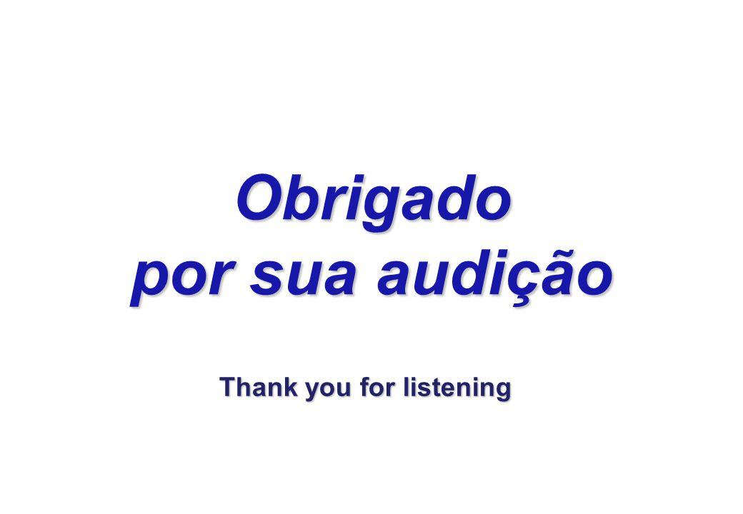 Obrigado por sua audição Thank you for listening